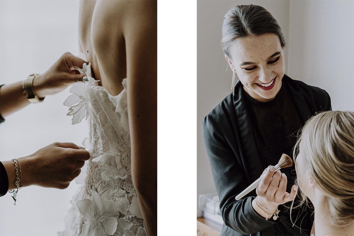 Braut wird im Andaz Vienna Hotelzimmer geschminkt und das Brautkleid angezogen by Kamerakinder Weddings