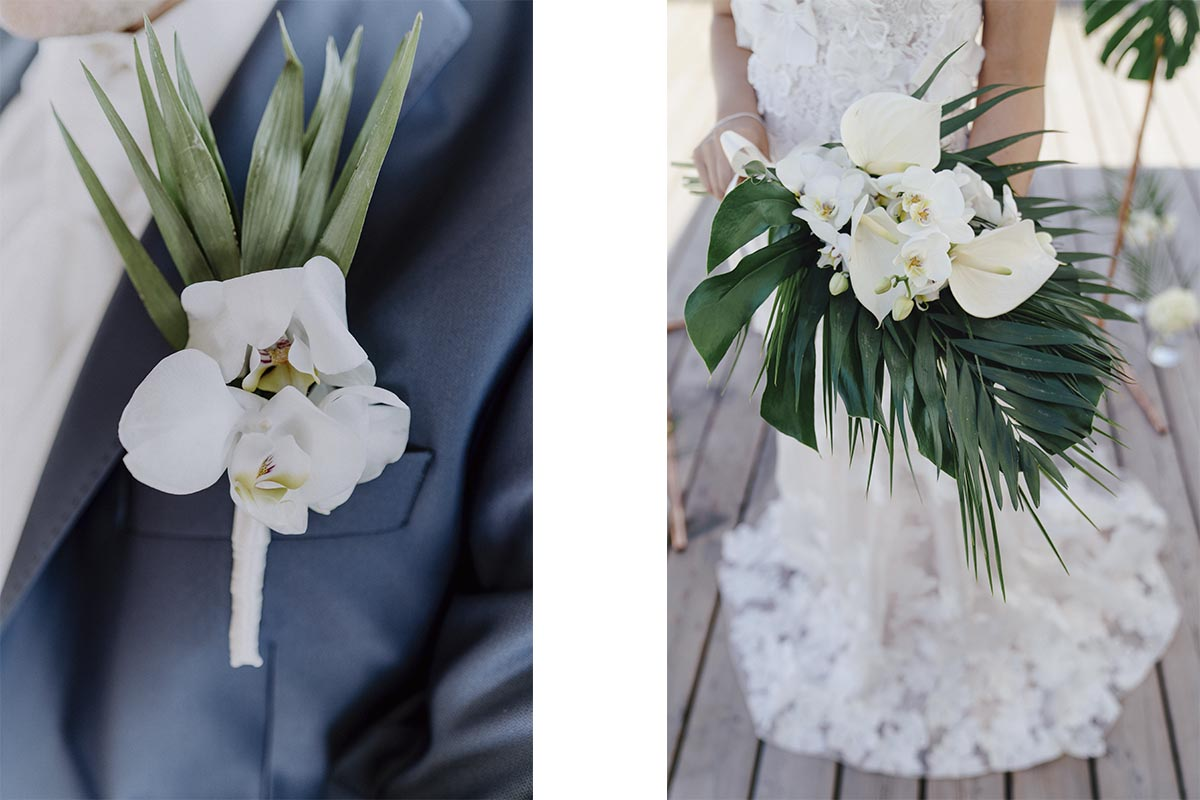 Hochzeitsinspiration Blumenschmuck Monstera Orchideen Brautstrauss und Anstecken