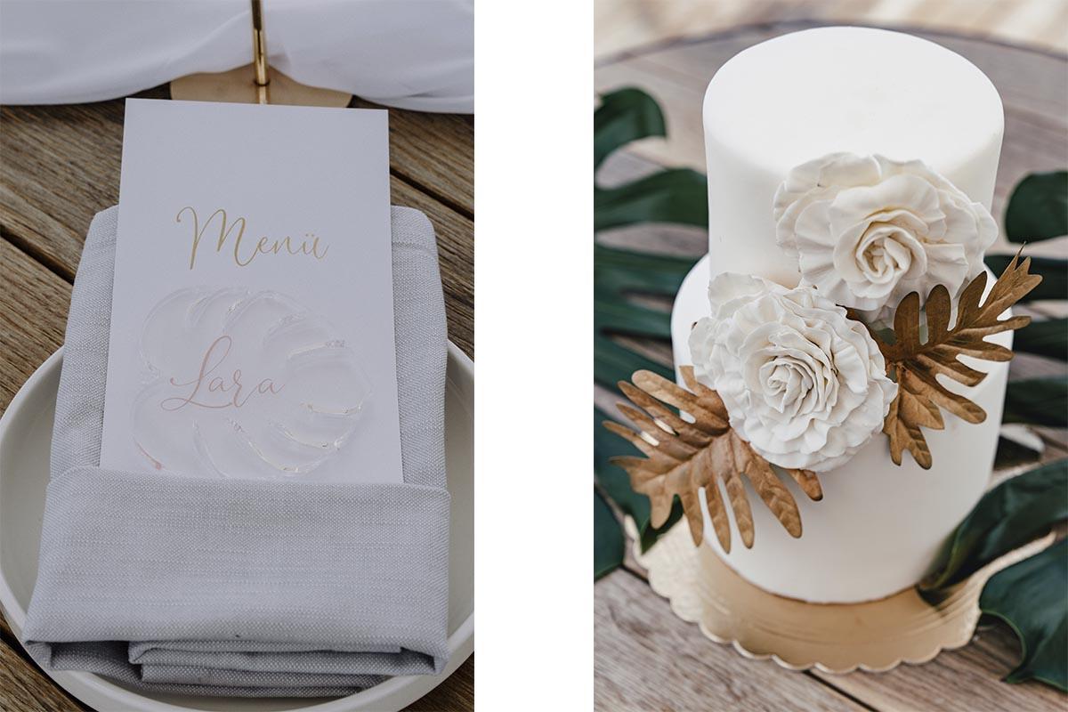 Hochzeitstorte und Tischdekoration