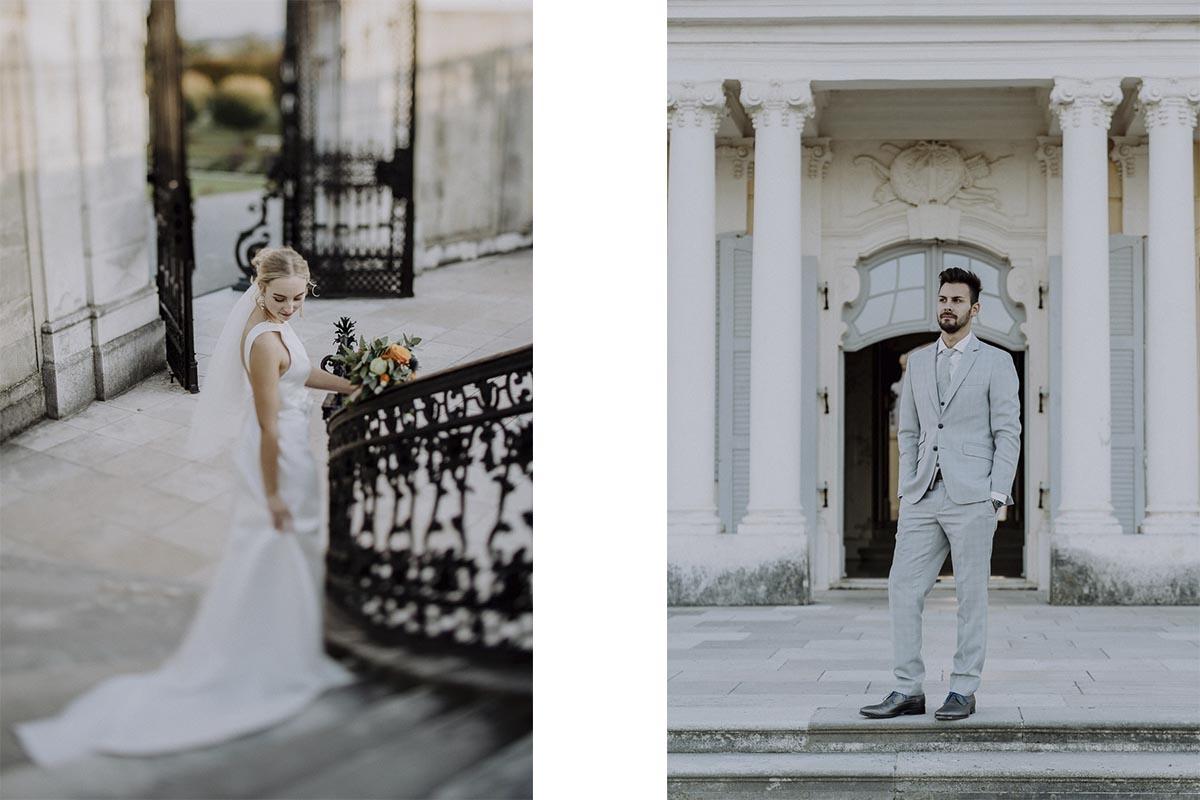 Braut und Bräutigam Fotos im Schloss Hof beim After-Wedding-Shooting