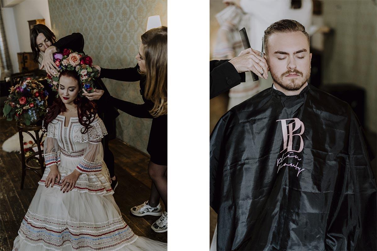 Braut und Bräutigam beim Getting Ready mit Hair und Make Up Artist in Graz