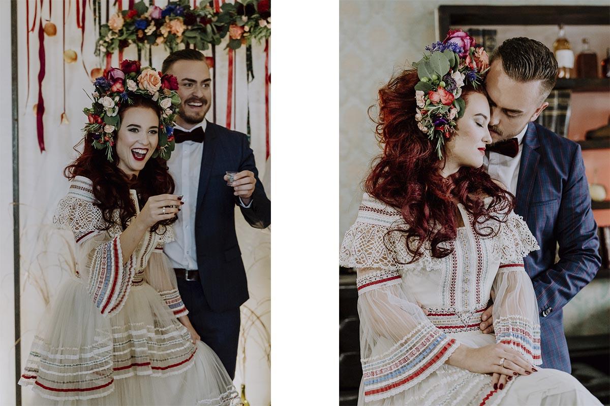 Brautpaar im Lena Hoschek Brautkleid mit opulentem Blumenkranz in den Haaren